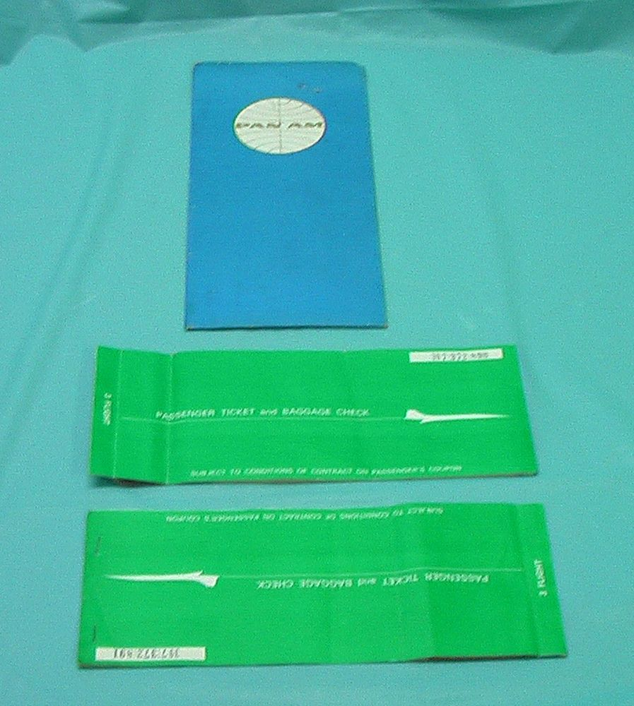 Airline Ticket Holder Tickets Pan Am Airlines Airplane Flight Passenger Vintage