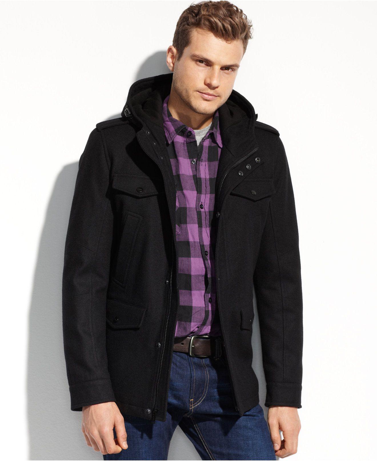 Guess Coats Wool Four Pocket Hooded Coat Coats Jackets Men Macy S Hooded Coat Coat Mens Jackets [ 1616 x 1320 Pixel ]