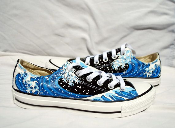 131030becb5e These shoes feature Hokusais The Great Wave Off Kanagawa. Shoes are hand  painted with the