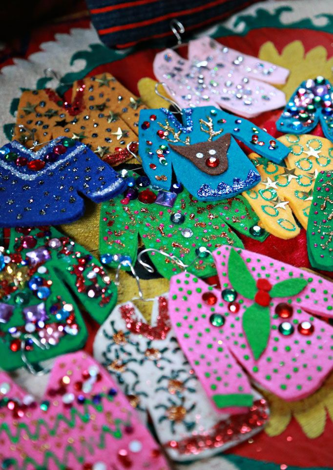DIY Ugly Christmas Sweater Ornaments Ugliest christmas sweaters