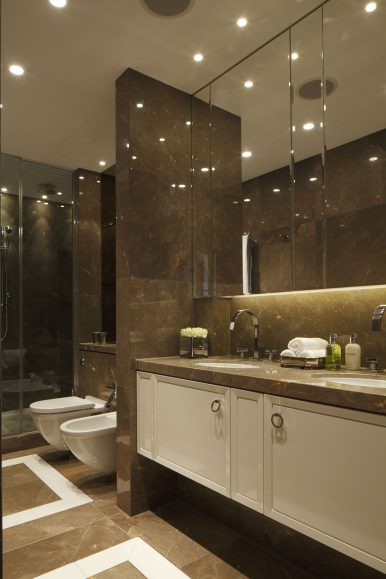 Best Master Bath Sleek And Modern With A Divider Separating 400 x 300