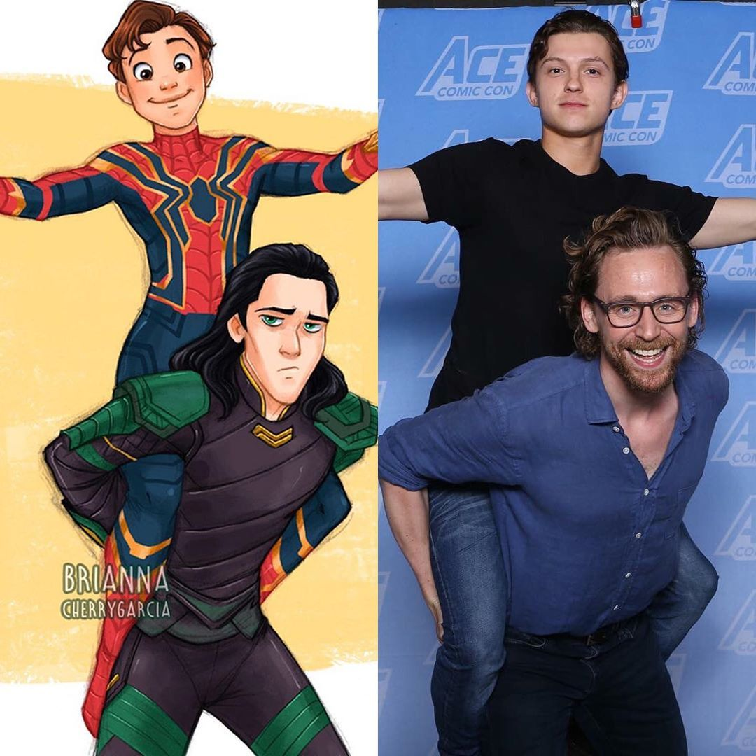 "Beb � on Instagram: ""Loki and Peter Parker would make the best duo! �� Artist: @briannacherrygarcia"""