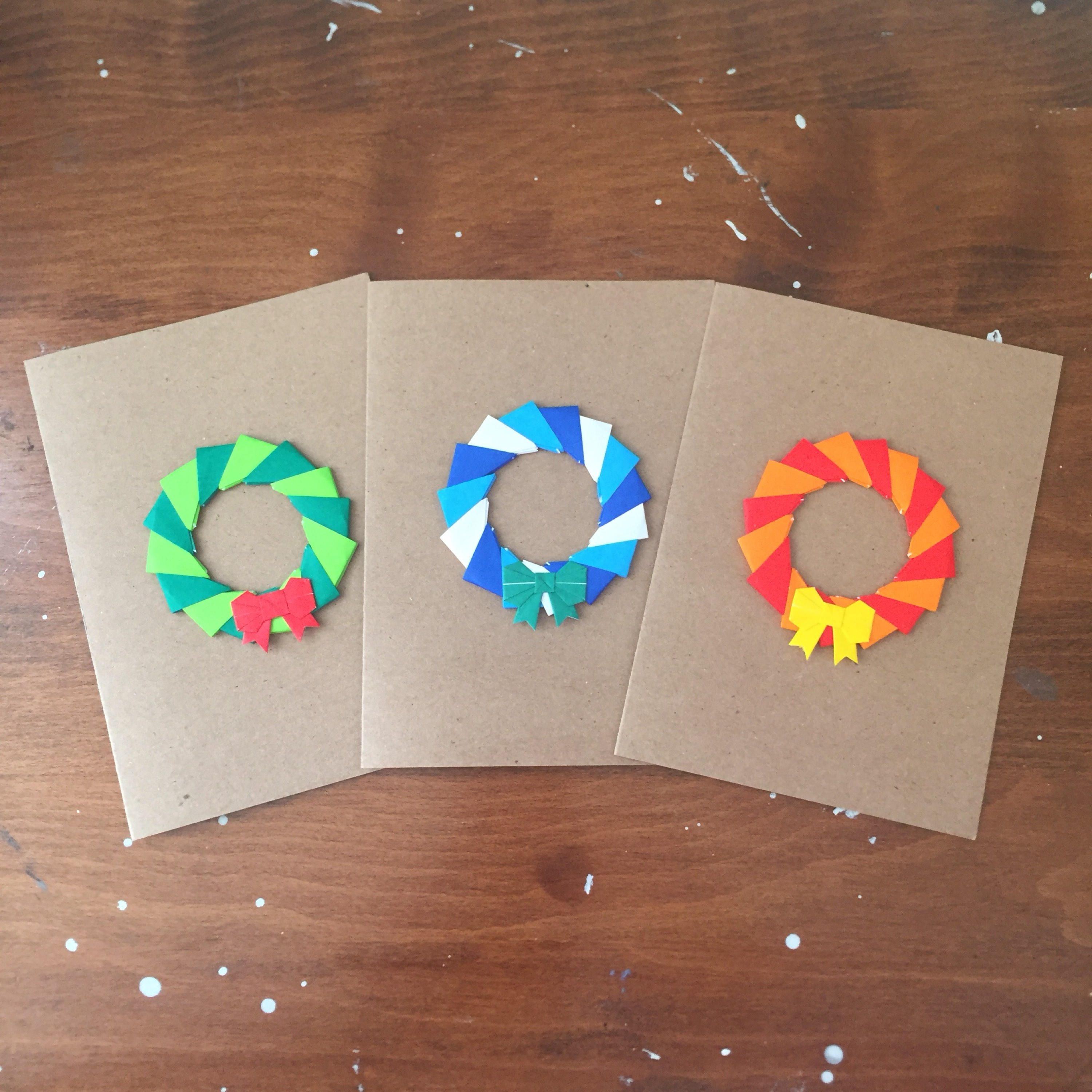 Origami Wreath Christmas Greeting Cards, Blank Card, Note ... - photo#36
