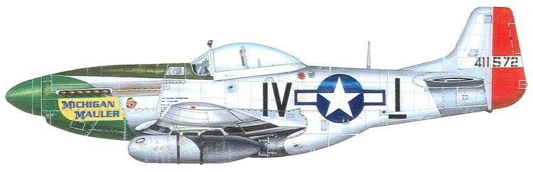 Lt. Warner C Jennings. Benton Harbor, MI. 369th Fighter Squadron. P-51K 44-11572 IV-I_ Michigan Mauler.