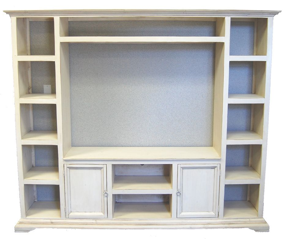 Fabulous One Piece Entertainment Center In White Washed Style Inside Dimensions Are 51 Inches Wide By 37 Tall Plenty Of Shelf E