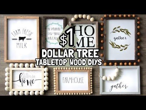 35 Dollar Tree Tabletop Wood Decor Diys Youtube Dollar Tree Gifts Dollar Tree Frames Diy Dollar Tree Decor