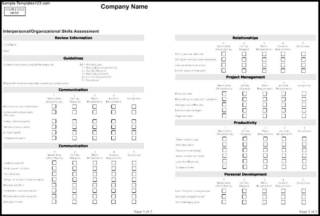 Company Assessment Template Templates Memberpro Co Evaluation