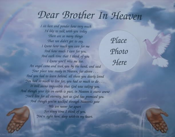 Dear Brother In Heaven Memorial Verse Poem Lovely Gift Justice For