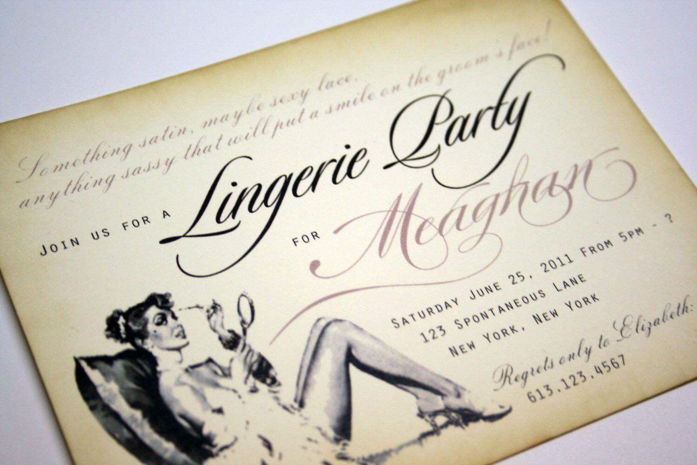 Vintage Bachelorette Invitations Lingerie Shower Invitations Bridal ...