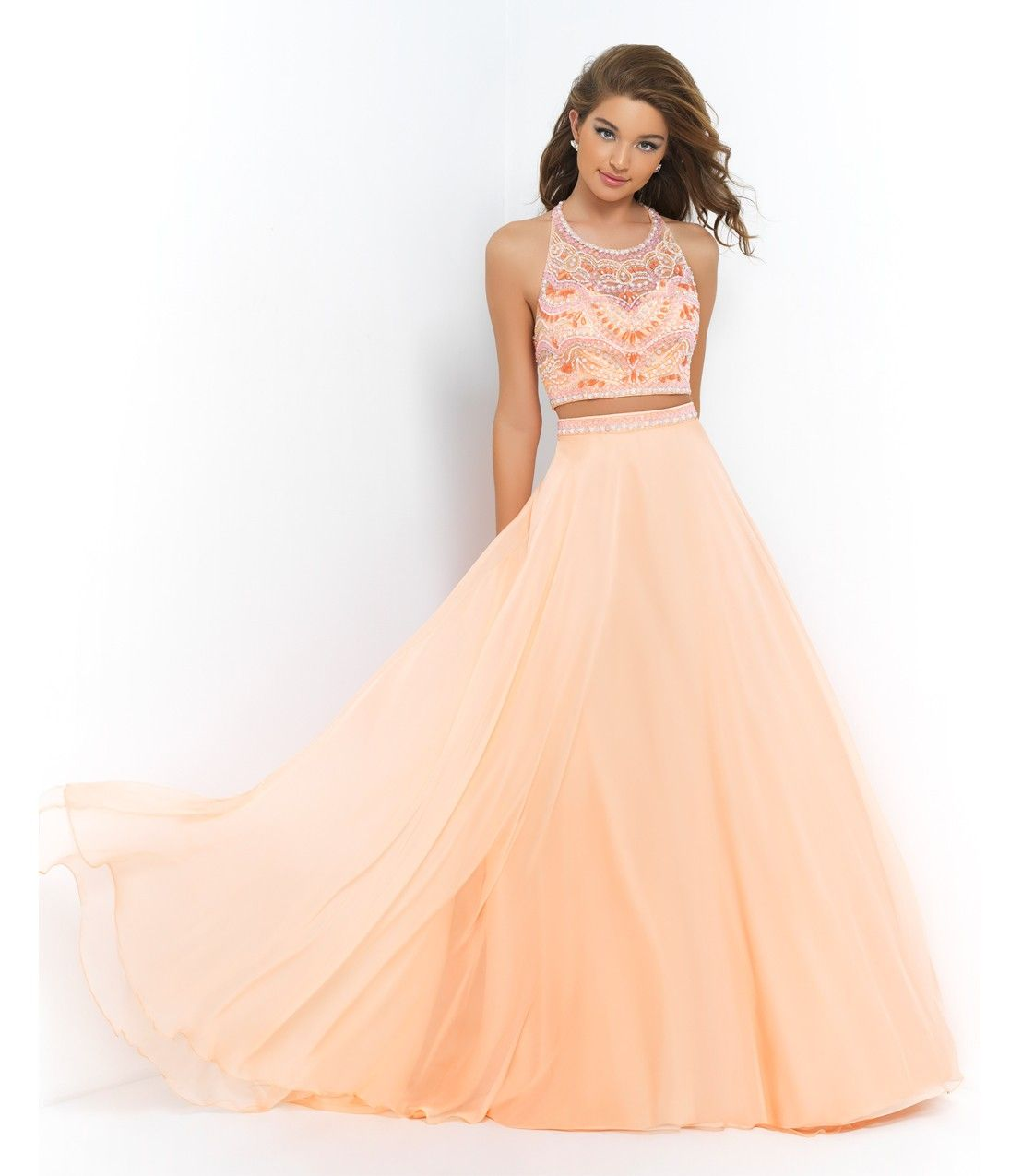 Cantaloupe Orange Two Piece Beaded Crop Top & Long Skirt - Unique ...