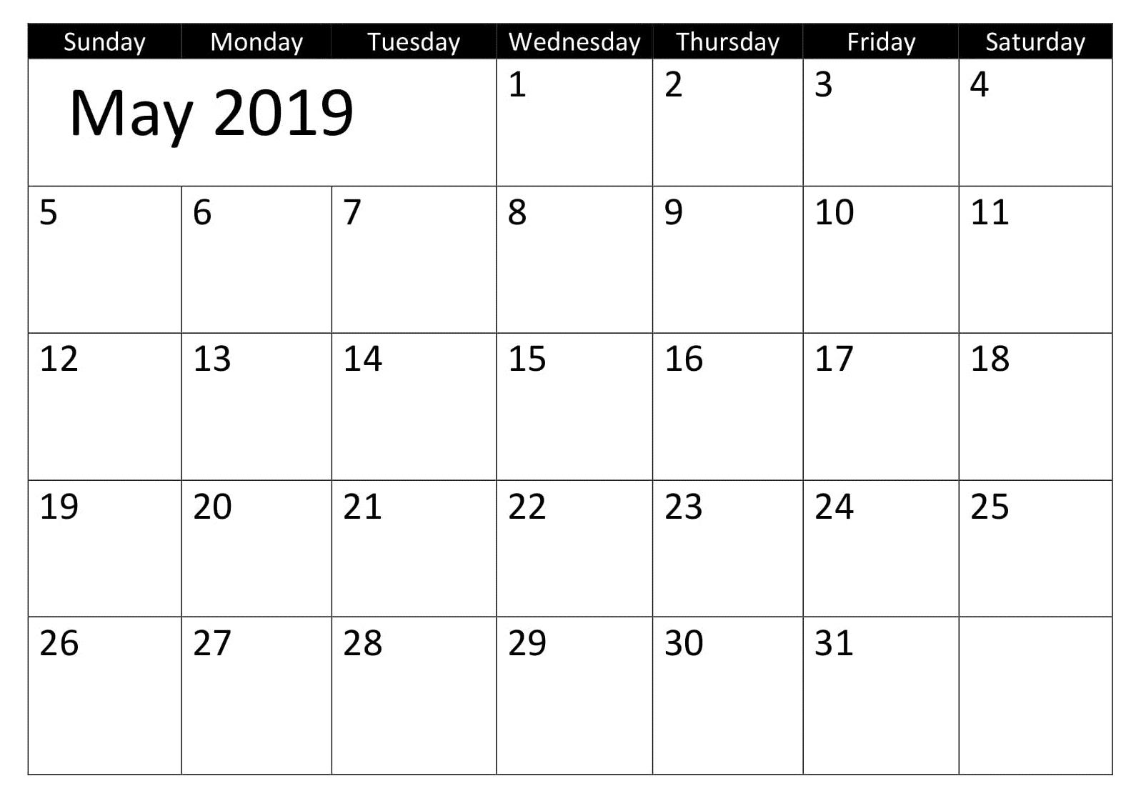 May Blank 2019 Template Calendar Excel Calendar 2019 Calendar
