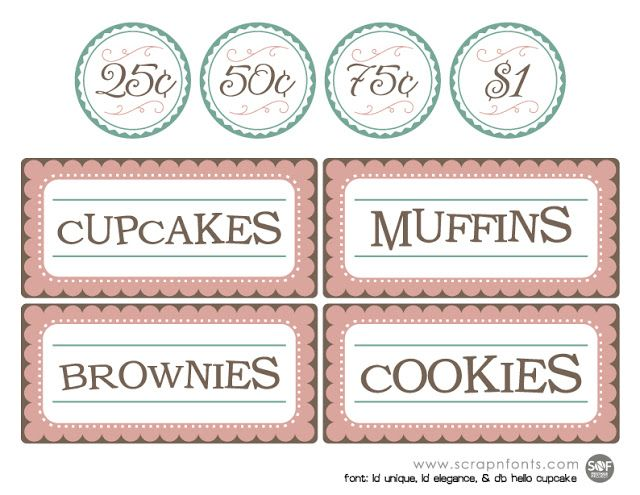 Free Printable Bake Sale Sign And Labels   Fontaholic Freebies