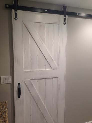 Custom White Washed Barn Door With Double Z Bracing And Antique Style Hardware Located In San Diego Barn Door Barn Doors Sliding Interior Barn Doors