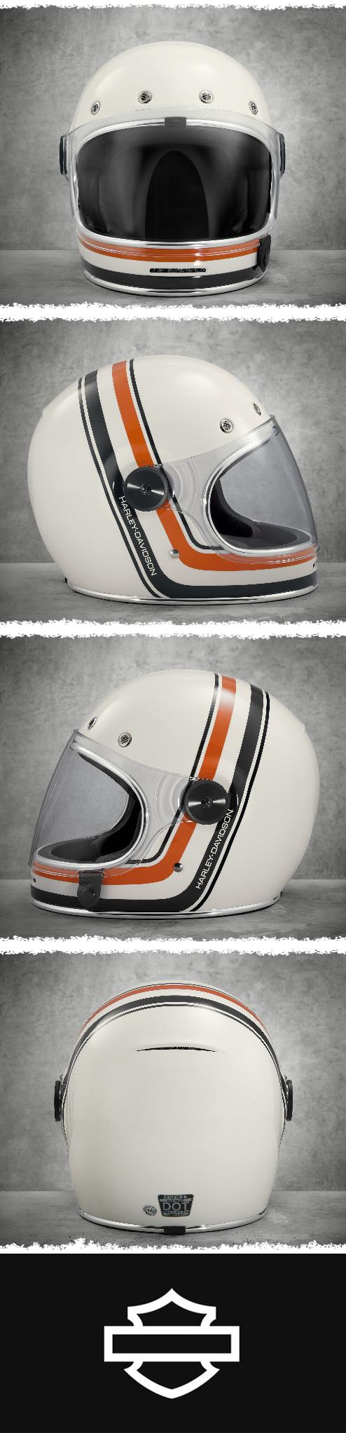 Bell custom 500 gloss black vintage low profile helmet chopper harley - Vintage Stripe B06 Full Face Helmet