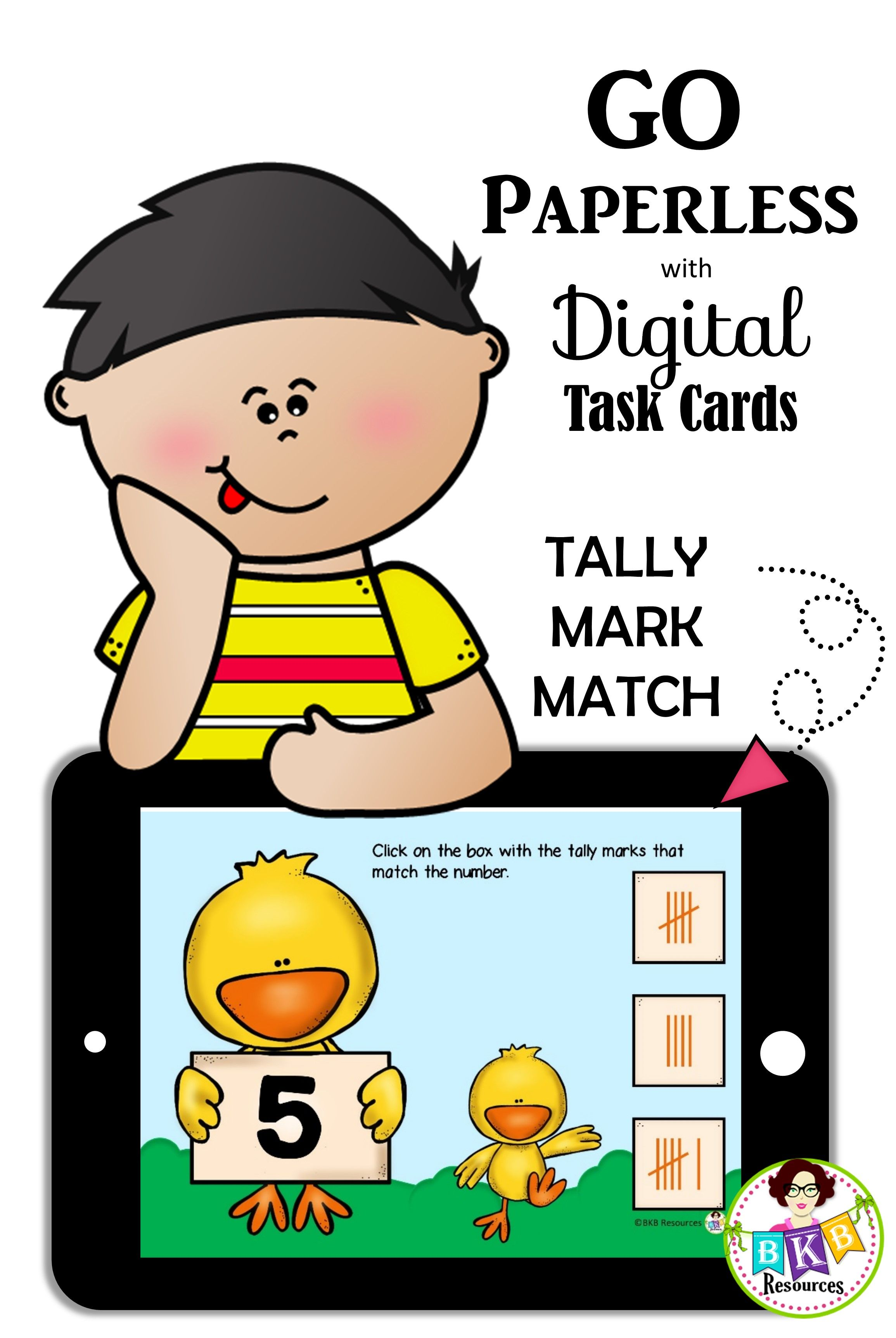 Tally Mark Match Digital Task Cards Boom Cards Numbers 1