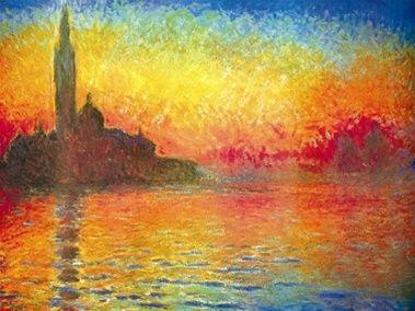 Monet Sunset Over Venice Poster