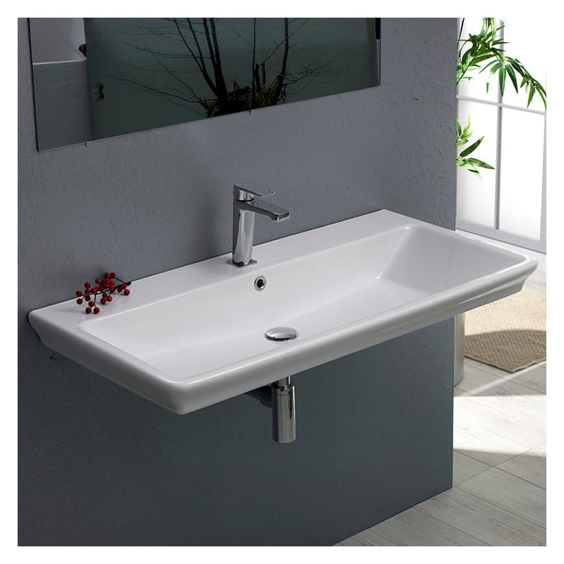 """Nameeks CeraStyle 040300-U-One Hole White / One Hole Arica 38-3/5"""" Ceramic Wall Mounted/Drop in Bathroom Sink with 1 / 3 Faucet Holes Drilled - Includes Overflow"""