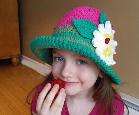 Crochet Hat Pattern, Crochet pattern, Brimmed hat with flower ...