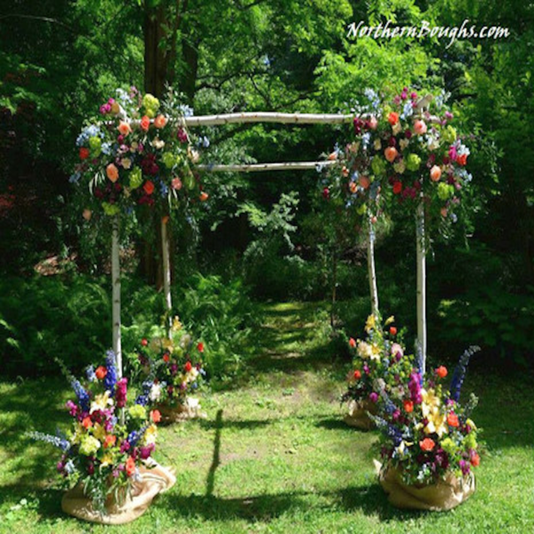 Cedar Wedding Arch Kit North Carolina Three Piece White Birch Featured In MunaLuchi Bride