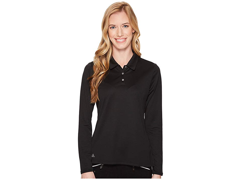 876f8b5f adidas Golf Performance Long Sleeve Polo (Black) Women's Long Sleeve  Pullover. Tee up