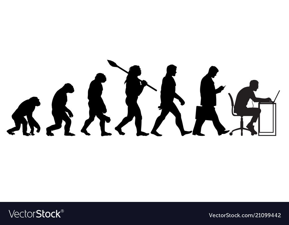 Silhouette Of Theory Of Evolution Of Man Vector Image On