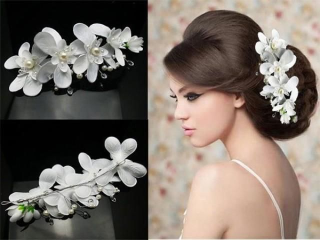 Beautiful Orchid Hairpiece Pearl Bridal Headpiece White Orchids Wedding Wedding Headpiece Vintage
