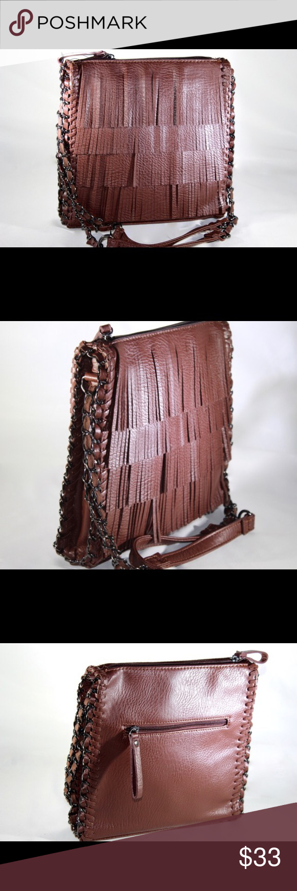 Sondra Roberts Fringed Faux Leather Shoulder Bag. Boho-chic petite faux leader shoulder bag. With one inside zip pocket, two inside open pockets, back zip pockets and front fringe detail. Sondra Roberts  Bags Shoulder Bags
