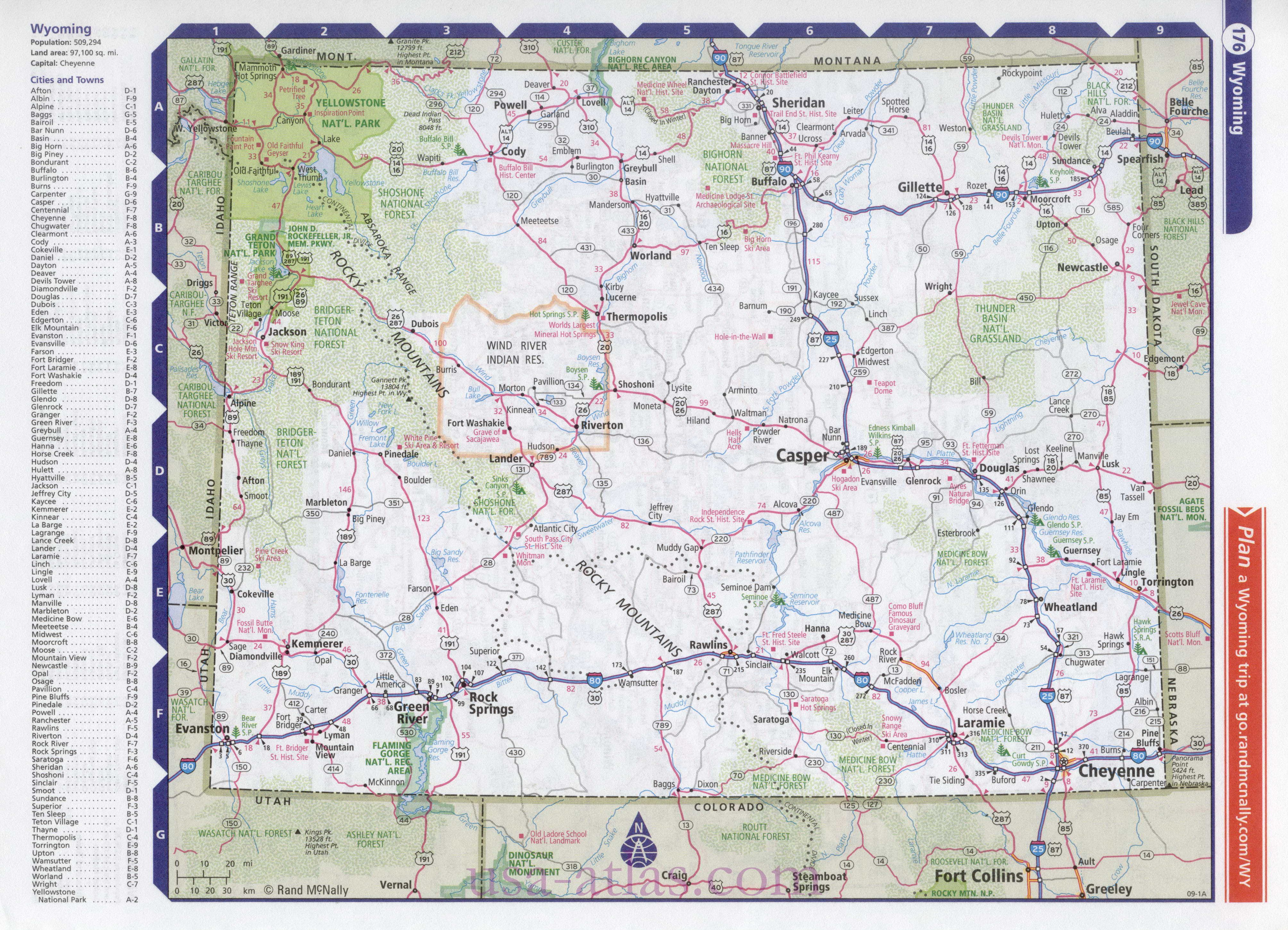 Map of the state of Wyoming Clear detailed road map of the state