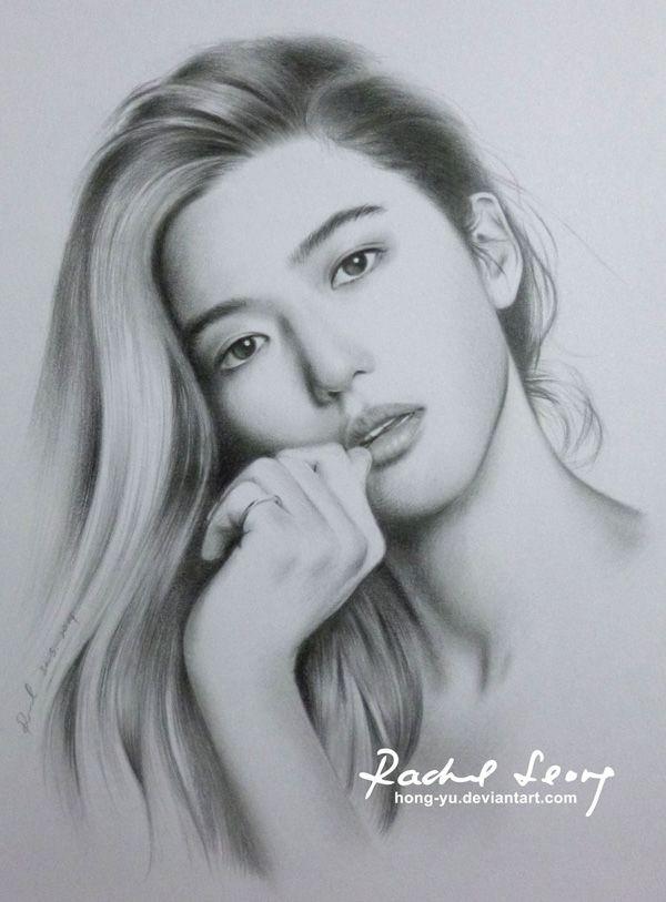 jeon ji hyun 1 by hong yu - Pencil Drawings by Leong Hong Yu  <3 <3