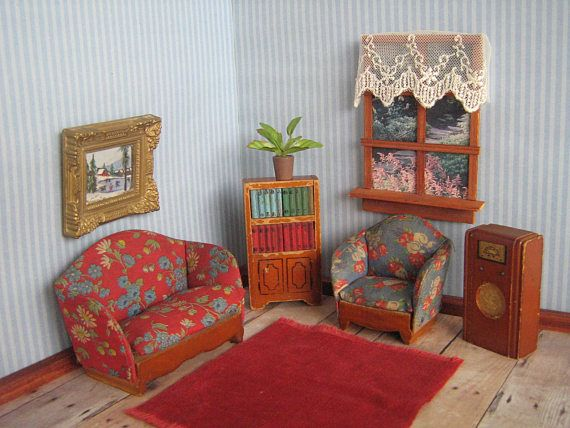 Vintage Miniature Dollhouse Furniture By Kage Living Room