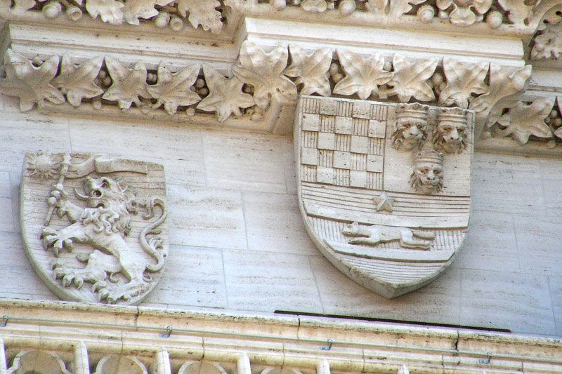 Historic Croatian Coat Of Arms Above The Entrance Of Zagreb Cathedral Croatia Croatia Holiday Croatia Tourism Croatia