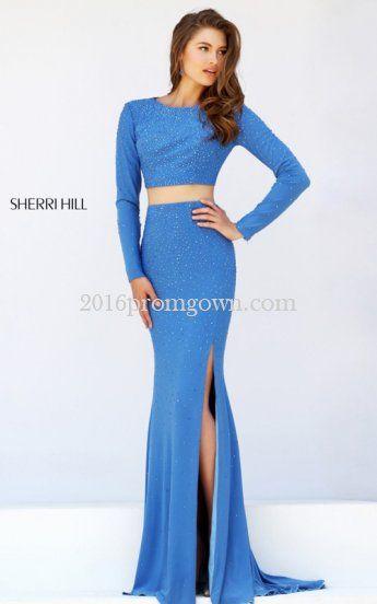 Blue Sherri Hill 50077 Two Piece Slit 2016 Prom Dress