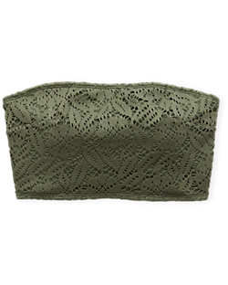 4db1adca6bf41 Aerie Crochet Longline Bandeau Bikini Top, Olive Fun | Aerie for American  Eagle