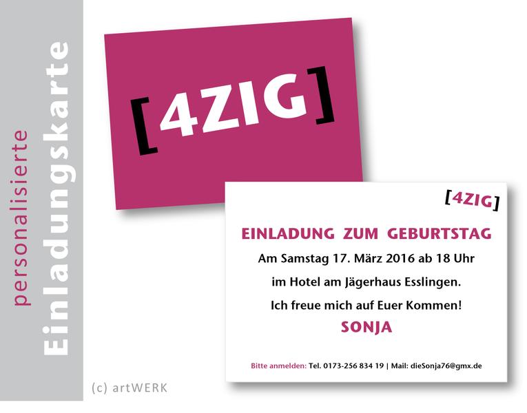 """Einladung zum Geburtstag personalisiert """"ZIG"""""""