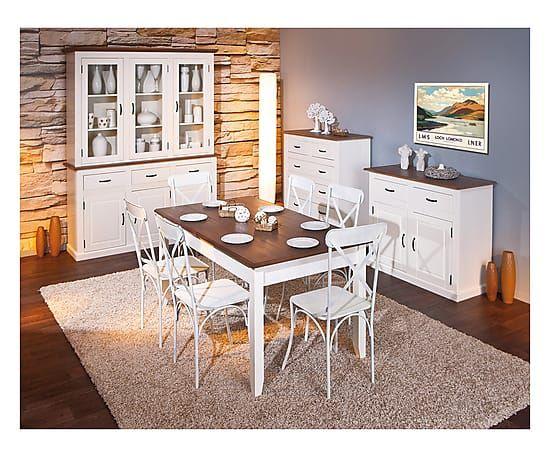 Tavolo allungabile in pino Cassala bianco/naturale - 160/200x77x90 cm