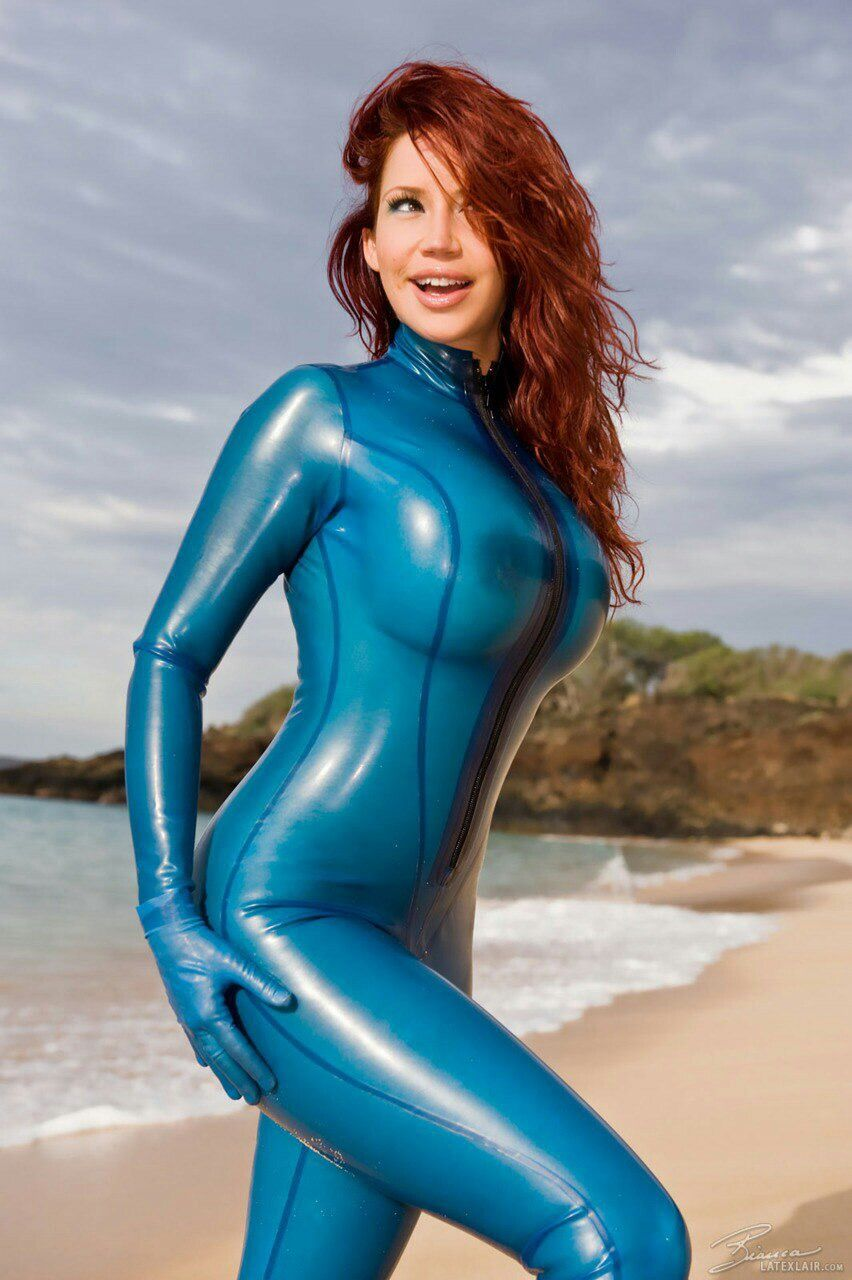 Bianca Beauchamp In Transparent Blue Latex Catsuit Big Booty