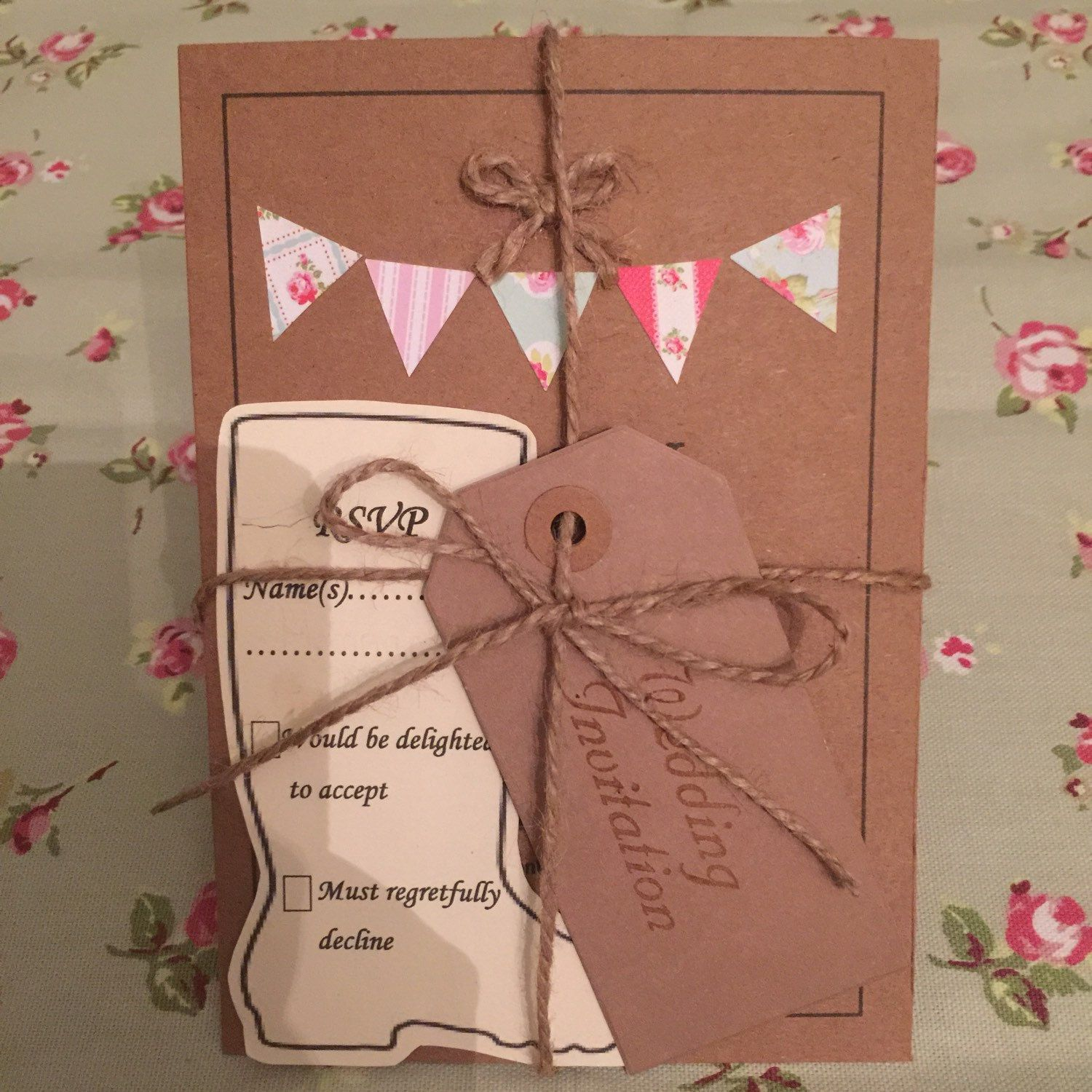 Handmade country bunting wedding invitations, RSVP Wellington boot ...