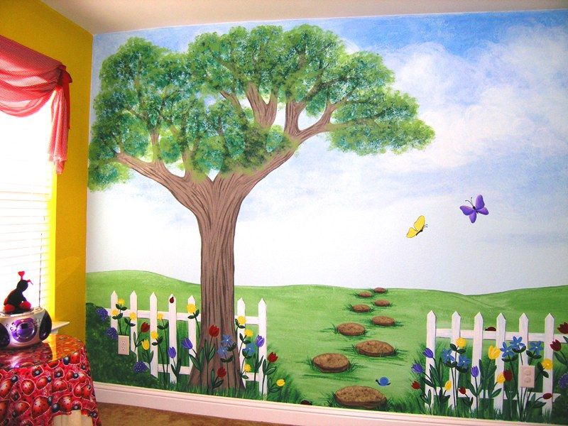 kids tree to paint on wall Childrens Murals for Baby Nursery