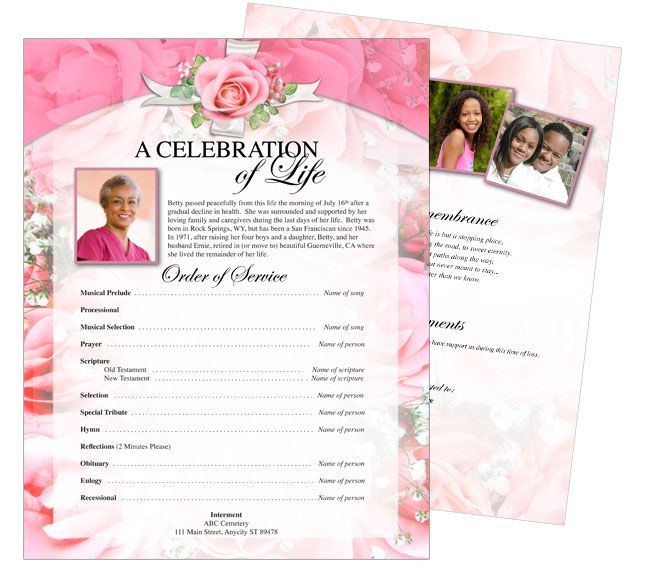 Printable Funeral Memorial Flyers Samples One Page Funeral Flyer - memorial pamphlet template free