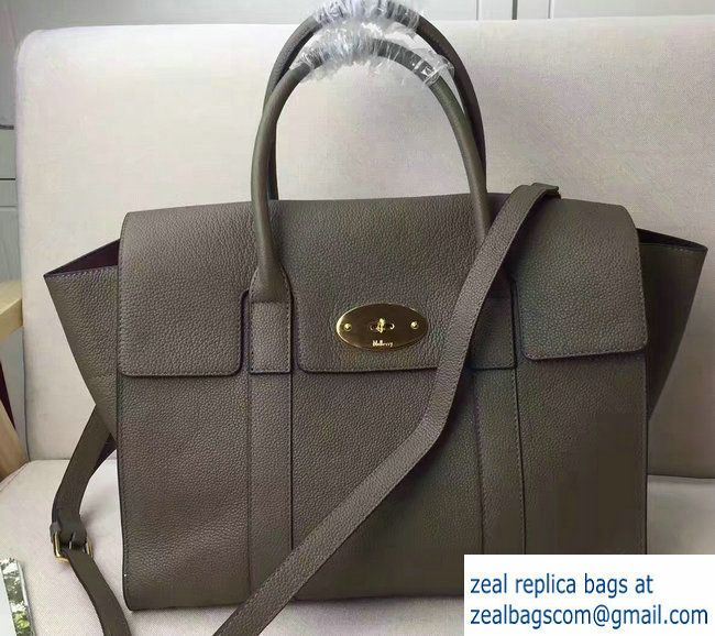 4dd3217fec ... official store mulberry classic grain bayswater large bag with strap  gray 2017 c4d39 b88cc