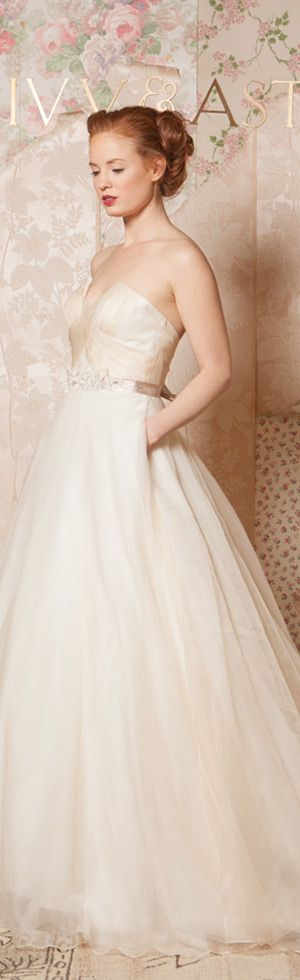 ivy and aster spring 2016 bridal crumb catcher neckline ivory champagne a line wedding dress with pockets #weddingdress #weddings #bridal