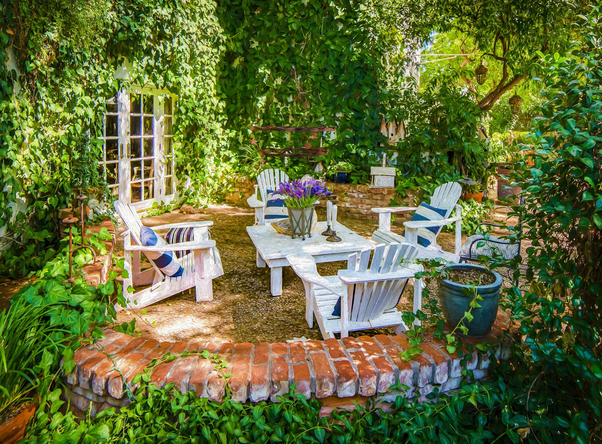 Summer Days   A Lovely Backyard Summer Patio, Complete With French Doors,  Climbing Vines