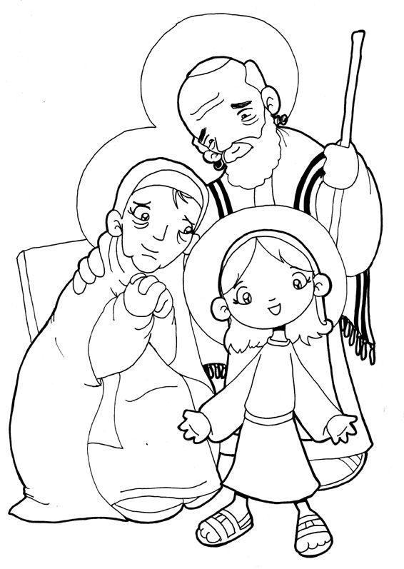 saints anne and joachim with little mary catholic coloring page