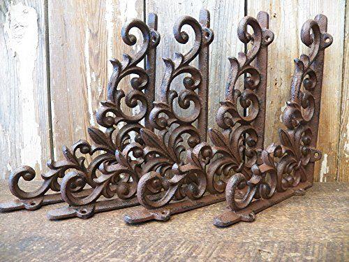 "Set of 4 Cast Iron Shelf Brackets New Antique-Style FANCY 9 1//2/"" x 9 1//2/"""