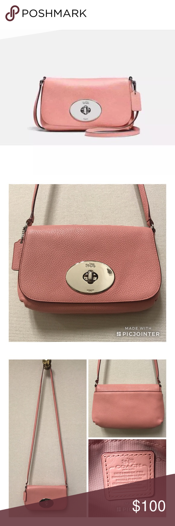b5b2207b43 Coach LIV Pouch Crossbody in Pink Leather Cover photo is a stock photo. Authentic  COACH