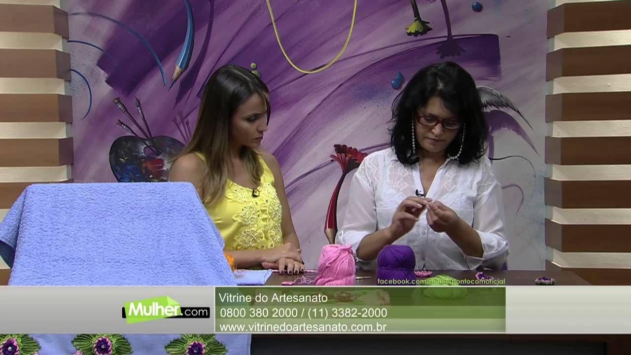 Mulher.com 10/02/2015 Flor em crochê aplicação na toalha por Maria José ...