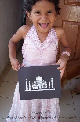 Cards Crafts Kids Projects Stencil Art Tutorial Taj Mahal Stencil Art Art Tutorials Projects For Kids