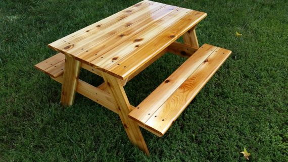 Hand Crafted Kids Cedar Picnic Table By Dreadzculturalshop On Etsy Painted Picnic Tables Picnic Table Kids Picnic Table