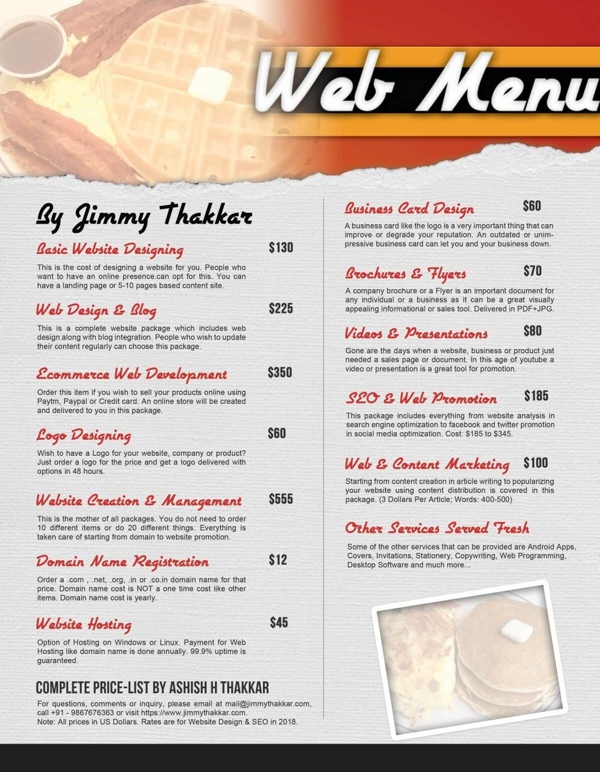 freelance flyer design rates web design rates and price list