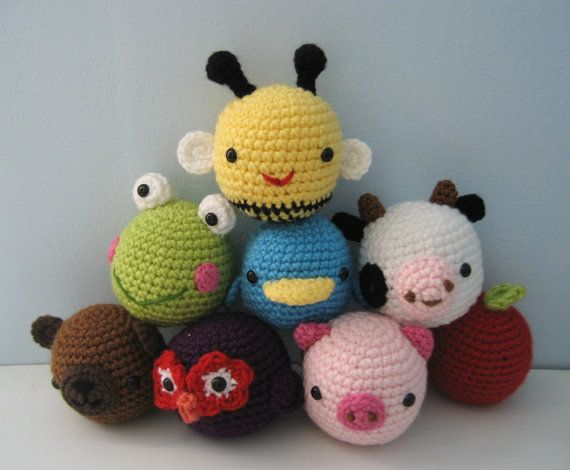 Sale - Amigurumi Animal Toys for Baby Crochet Pattern Set Digital Download via Etsy